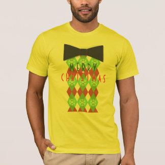 Argyle Merry Christmas Pattern Black Tie T-Shirt