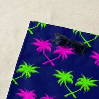 Argyle Palm Trees Blue Beach Towel