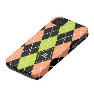 Argyle pattern black, coral, green monogram iPhone 4 case