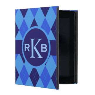 Argyle pattern blue custom personalized initials iPad case