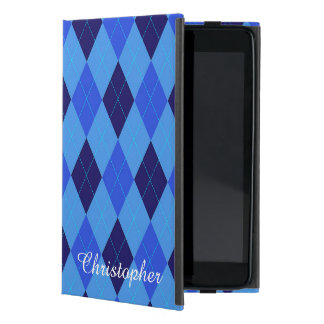 Argyle pattern blue custom personalized name covers for iPad mini