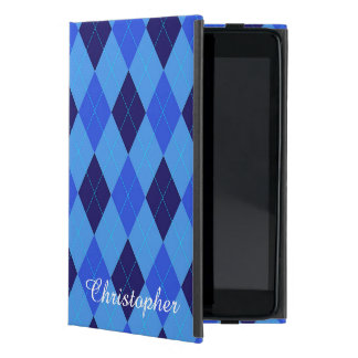 Argyle pattern blue custom personalized name iPad mini covers