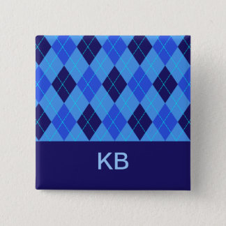 Argyle pattern blue personalised initial K B pin
