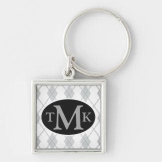 Argyle Pattern Gray Black Keychain Monogram