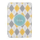 Argyle Pattern Grey Yellow - 9 Variations iPad Mini Cover
