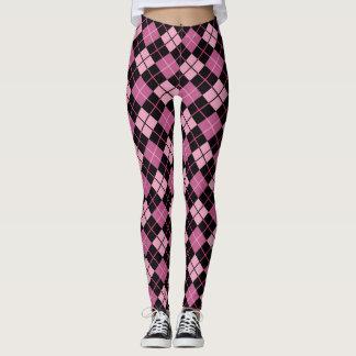 Argyle Pattern in Black and Pink Leggings