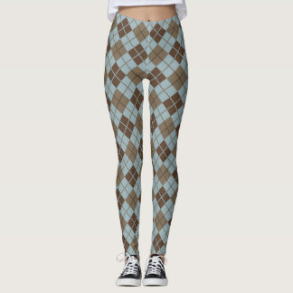 Argyle Pattern in Blue and Taupe Leggings