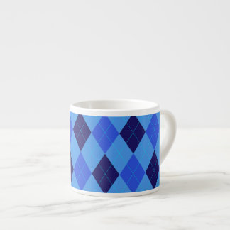 Argyle pattern in shades of blue beautiful espresso cup