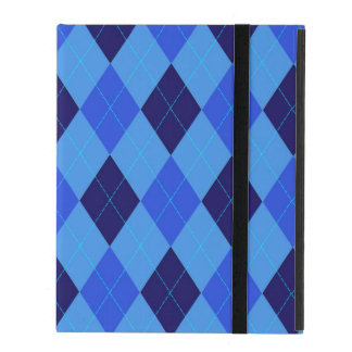 Argyle pattern in shades of blue beautiful iPad case