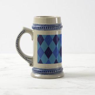 Argyle pattern in shades of blue beautiful 18 oz beer stein