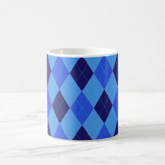 Argyle pattern in shades of blue beautiful classic white coffee mug