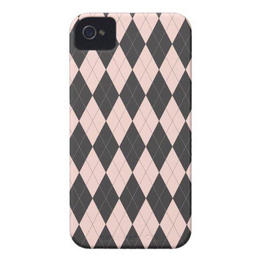 Argyle Pink and Black Design Blackberry Case
