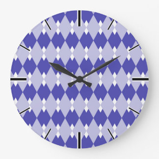 Argyle Plaid Pattern_4A46B0 Large Clock