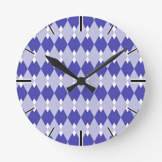 Argyle Plaid Pattern_4A46B0 Round Clock