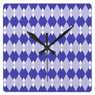 Argyle Plaid Pattern_4A46B0 Square Wall Clock