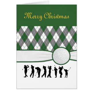 Argyle plaid with ribbon greeting Christmas card. Card