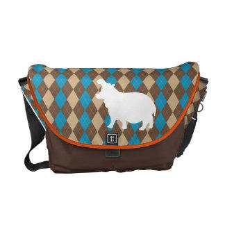 "Argyle Print Messenger Bag with Hippo ""Hipster"""