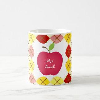 Argyle Red Apple Teacher's Basic White Mug