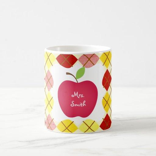 Argyle Red Apple Teacher's Coffee Mugs