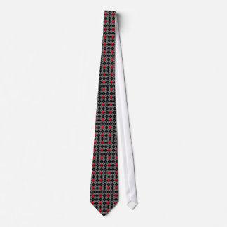 Argyle Skulls Black Red Tie