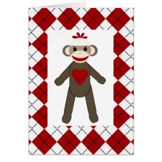 Argyle Sock Monkey Love Blank Card