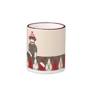 Argyle Sock Monkey Ringer Mug
