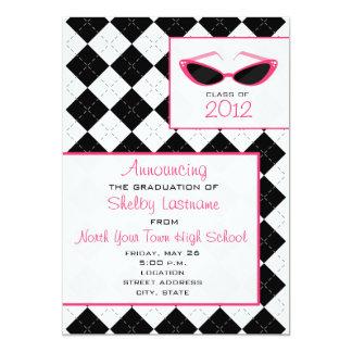 "Argyle & Sunglasses 2012 Graduation Announcement 5"" X 7"" Invitation Card"