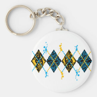 Argyle Tribal Basic Round Button Keychain