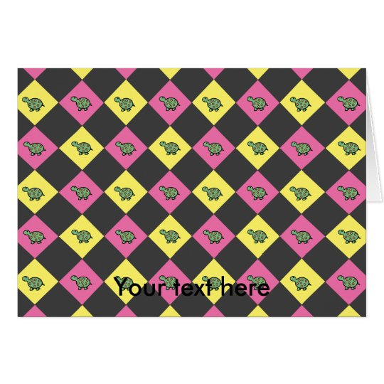 Argyle turtle pattern on black card