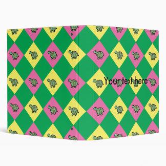 Argyle turtle pattern on green 3 ring binders