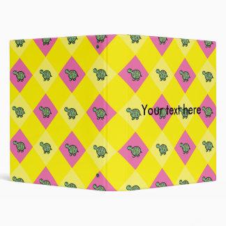 Argyle turtle pattern on yellow 3 ring binder