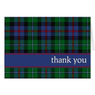 Argyll Scotland District Tartan Thank You Card