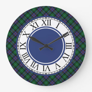 Argyll Scotland Tartan Border Large Clock