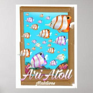 Ari Atoll Maldives travel poster