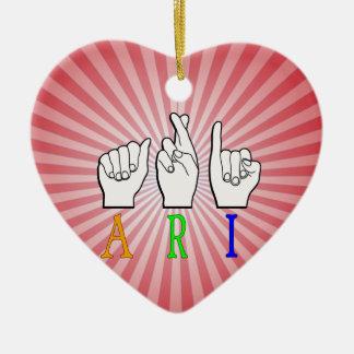 ARI FINGERSPELLED ASL NAME SIGN DEAF CERAMIC ORNAMENT