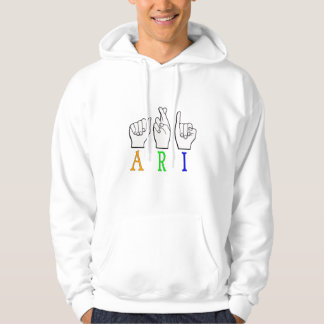 ARI FINGERSPELLED ASL NAME SIGN DEAF HOODIE