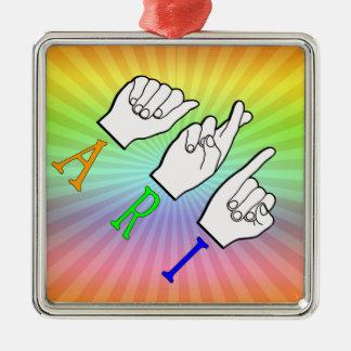 ARI FINGERSPELLED ASL NAME SIGN DEAF METAL ORNAMENT