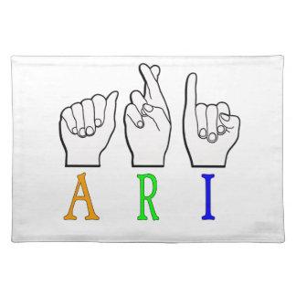ARI FINGERSPELLED ASL NAME SIGN DEAF PLACEMAT