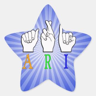 ARI FINGERSPELLED ASL NAME SIGN DEAF STAR STICKER
