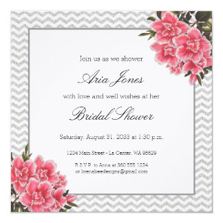 Aria - Vintage Pink Floral with Glitter Chevron Card