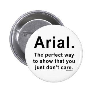 Arial Font Humor Mug Pinback Button