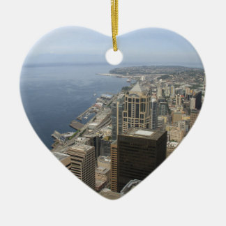 Arial View of Seattle Ceramic Heart Ornament