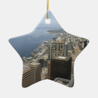 Arial View of Seattle Ceramic Star Ornament