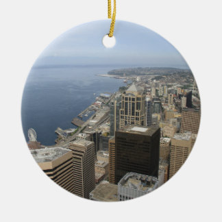 Arial View of Seattle Round Ceramic Ornament