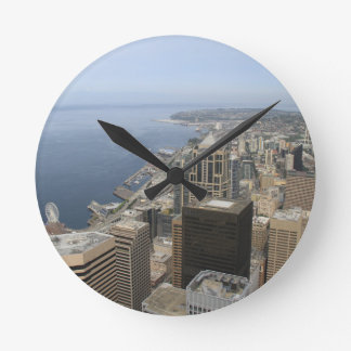 Arial View of Seattle Round Clock