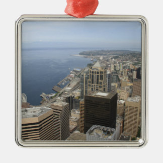 Arial View of Seattle Silver-Colored Square Ornament