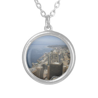 Arial View of Seattle Silver Plated Necklace