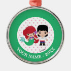 Ariel and Prince Eric Emoji Add Your Name Metal Ornament
