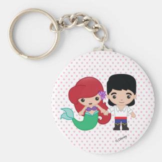 Ariel and Prince Eric Emoji Basic Round Button Keychain