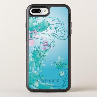 Ariel   Watercolor Outline OtterBox Symmetry iPhone 8 Plus/7 Plus Case